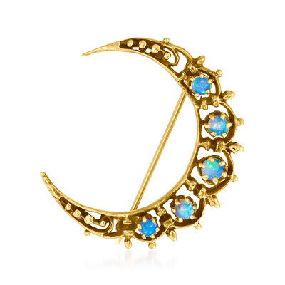 C. 1980 Vintage Opal Crescent Moon Pin in 14kt Yellow Gold