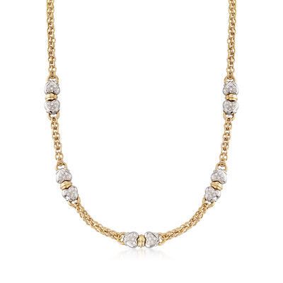 C. 1980 Vintage 1.20 ct. t.w. Diamond Hearts Two-Tone Station Necklace in 18kt Yellow Gold, , default