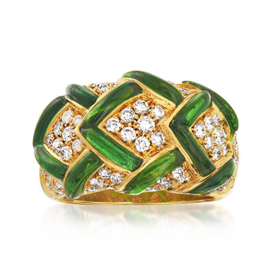 C. 1980 Vintage 1.80 ct. t.w. Green Tourmaline and .96 ct. t.w. Diamond Dome Ring in 18kt Yellow Gold, , default