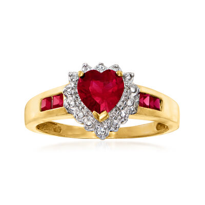 C. 1980 Vintage 1.35 ct. t.w. Synthetic Ruby Heart Ring with Diamond Accents in 10kt Yellow Gold