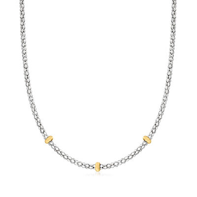 """Phillip Gavriel """"Popcorn"""" Sterling Silver and 18kt Yellow Gold Station Necklace"""