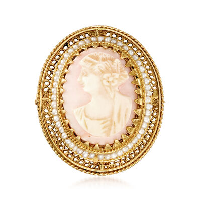 C. 1950 Vintage Pink Agate Cameo Pin in 14kt Yellow Gold, , default
