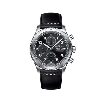 Breitling Navitimer 8 Chronograph Men's 43mm Stainless Steel Watch - Black Dial and Leather Strap, , default