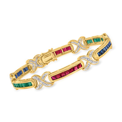 C. 1980 Vintage 5.90 ct. t.w. Multi-Gemstone and .20 ct. t.w. Diamond X-Section Bracelet in 14kt Yellow Gold