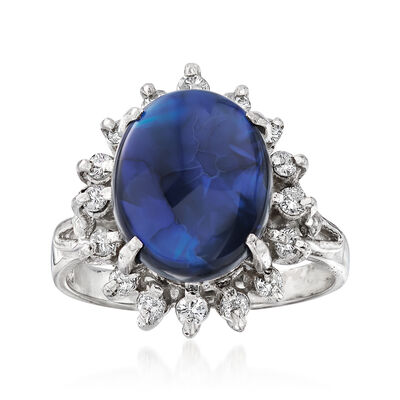 C. 1970 Vintage 11.5x9mm Black Opal and .28 ct. t.w. Diamond Ring in Platinum, , default