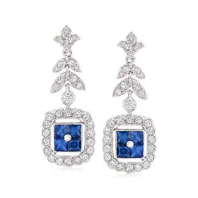 C. 2000 Vintage 1.55 ct. t.w. Diamond and 1.37 ct. t.w. Sapphire Drop Earrings in 18kt White Gold