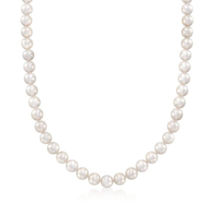 "Mikimoto 7-7.5mm 'A' Akoya Pearl Necklace with 18-Karat White Gold. 40"", , default"