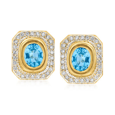 C. 1980 Vintage 9.00 ct. t.w. Sky Blue Topaz and 1.30 ct. t.w. Diamond Earrings in 14kt Yellow Gold