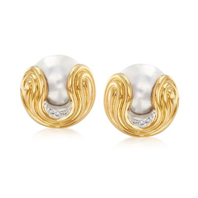 C. 1980 Vintage Wempe 16mm Mabe Pearl and .10 ct. t.w. Diamond Earrings in 18kt Yellow Gold