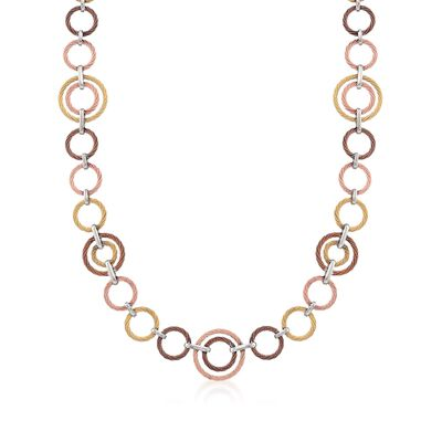 ALOR Tri-Colored Cable-Link Necklace with 18kt White Gold, , default