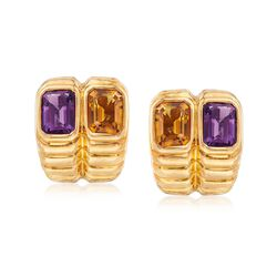 C. 1990 Vintage 1.60 ct. t.w. Amethyst and 1.60 ct. t.w. Citrine Ribbed Earrings in 18kt Yellow Gold, , default