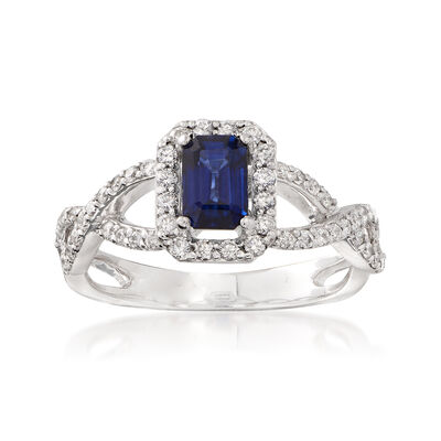 C. 2000 Vintage .70 ct. t.w. Sapphire and .45 ct. t.w. Diamond Ring in 14kt White Gold, , default