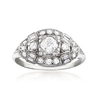 C. 1950 Vintage .97 ct. t.w. Diamond Ring in Platinum