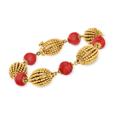 C. 1970 Vintage Coral Bead and 18kt Yellow Gold Bracelet, , default