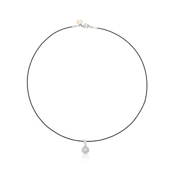 """ALOR Noir .17 Carat Total Weight Diamond Circle and Black Stainless Steel Cable Necklace With 18-Karat White Gold. 17"""", , default"""