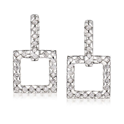 C. 1980 Vintage Diamond Square Drop Earrings in 14kt White Gold