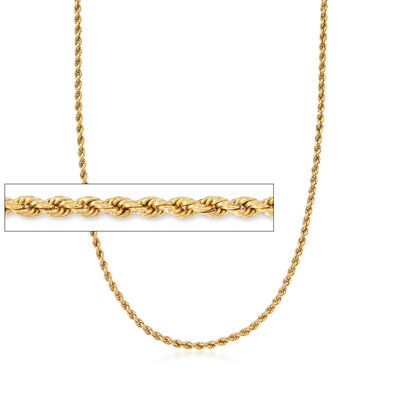 C. 1980 Vintage 14kt Yellow Gold 4mm Rope Chain Necklace
