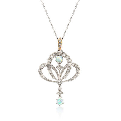 C. 1940 Vintage Opal and 1.90 ct. t.w. Diamond Pendant Necklace in 14kt White Gold