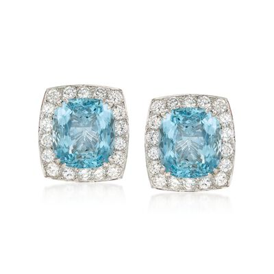 C. 2000 Vintage 17.00 ct. t.w. Aquamarine and 3.60 ct. t.w. Diamond Earrings in 18kt White Gold, , default
