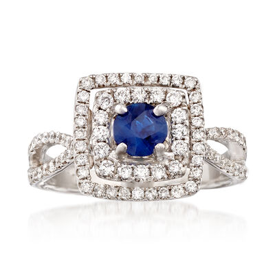 C. 1990 Vintage 1.00 ct. t.w. Diamond and .45 Carat Sapphire  Halo Ring in 18kt White Gold, , default