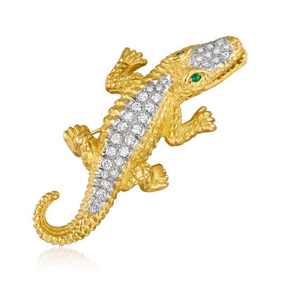 C. 1980 Vintage 1.50 ct. t.w. Diamond Alligator Pin with Emerald Accents in 18kt Yellow Gold