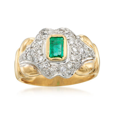 C. 1990 Vintage Emerald and Diamond Ring in 18kt Two-Tone Gold, , default