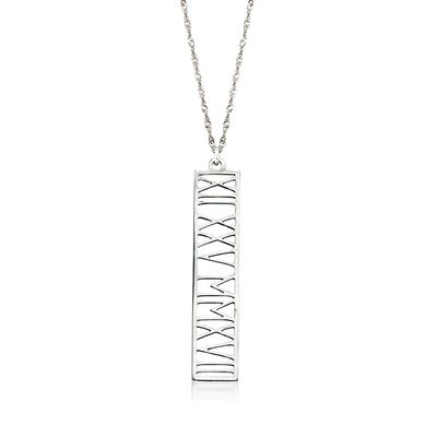 Sterling Silver Roman Numeral Personalized Date Pendant Necklace #892700