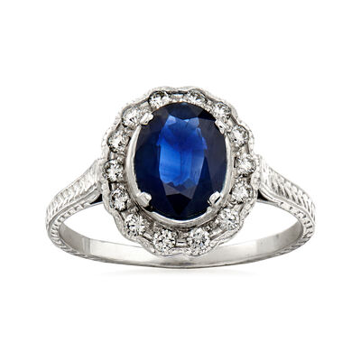 C. 1990 Vintage 1.26 Carat Sapphire and .25 ct. t.w. Diamond Ring in 14kt White Gold, , default