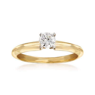 C. 1990 Vintage .35 Carat Diamond Solitaire Ring in 14kt Yellow Gold, , default