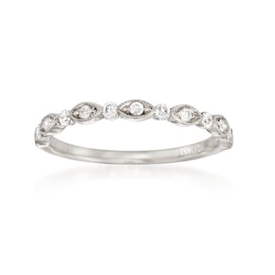 Henri Daussi .20 ct. t.w. Diamond Wedding Ring in 18kt White Gold