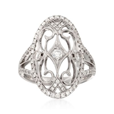 Simon G. .82 ct. t.w. Diamond Filigree-Style Ring in 18kt White Gold