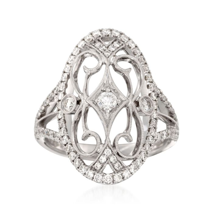 Simon G. .82 ct. t.w. Diamond Filigree-Style Ring in 18kt White Gold, , default