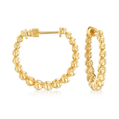 Gabriel Designs 14kt Yellow Gold Graduated Bead Hoop Earrings