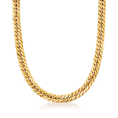 C. 1990 Vintage 14kt Yellow Gold Curb-Style Link Necklace