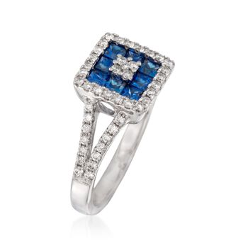 Gregg Ruth .75 ct. t.w. Sapphire and .43 ct. t.w. Diamond Ring in 18kt White Gold, , default