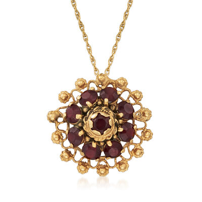 C. 1980 Vintage 4.40 ct. t.w. Garnet Cluster Pin/Pendant Necklace in 14kt Yellow Gold