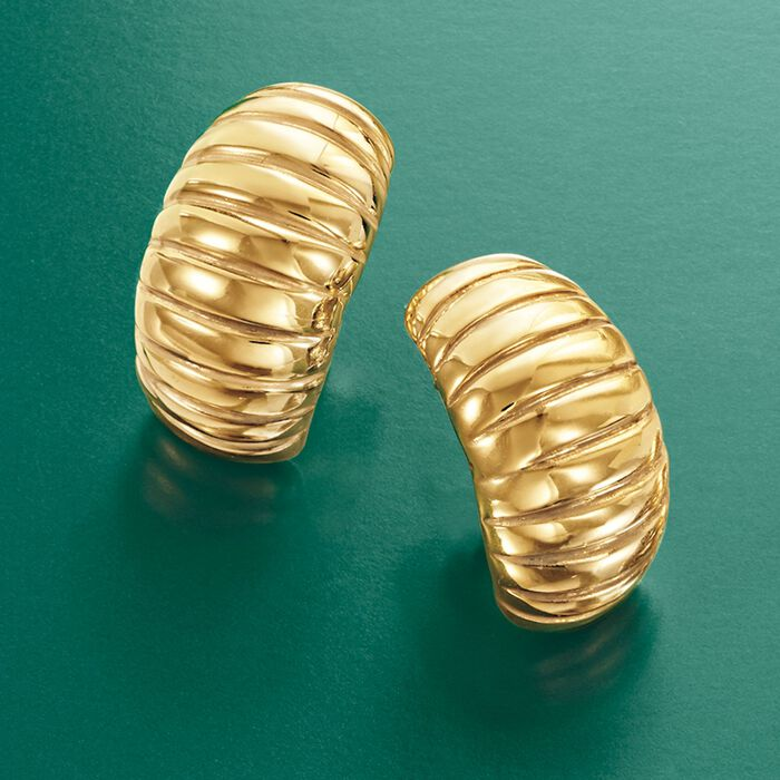 Italian 18kt Yellow Gold Ribbed Earrings