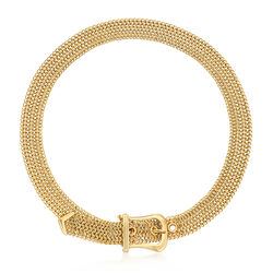 C. 2000 Vintage Tiffany Jewelry Buckle Necklace in 18kt Yellow Gold, , default