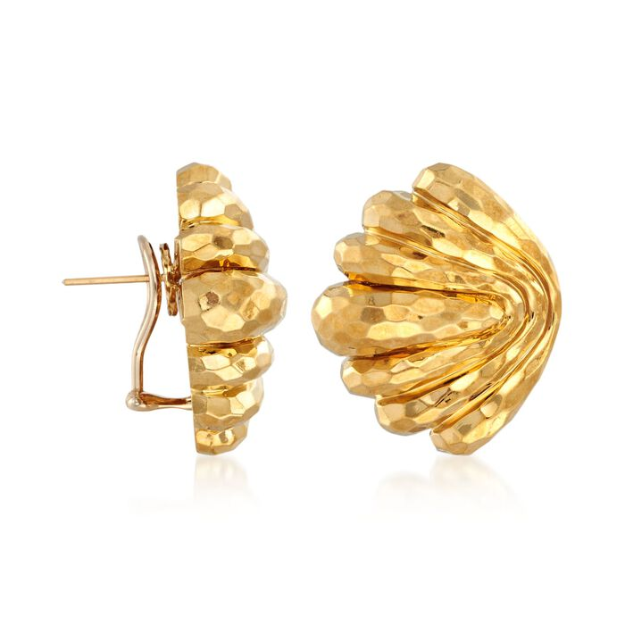 C. 1980 Vintage Henry Dunay 18kt Yellow Gold Hammered Shell Earrings