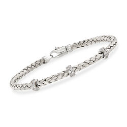 Simon G. .32 ct. t.w. Diamond Three-Station Woven Bangle Bracelet in 18kt White Gold, , default