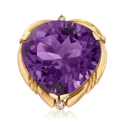 C. 1950 Vintage 31.50 Carat Amethyst and .10 ct. t.w. Diamond Cocktail Ring in 14kt Yellow Gold