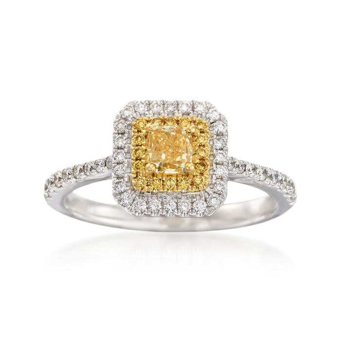 Gregg Ruth .86 Carat Total Weight Yellow and White Diamond Ring in 18-Karat White Gold. Size 7