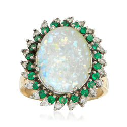 C. 1970 Vintage Opal, .45 ct. t.w. Emerald and .40 ct. t.w. Diamond Ring in 14kt Yellow Gold, , default