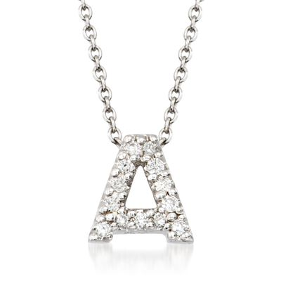 "Roberto Coin ""Tiny Treasures"" Diamond Accent Initial ""A"" Necklace in 18kt White Gold, , default"