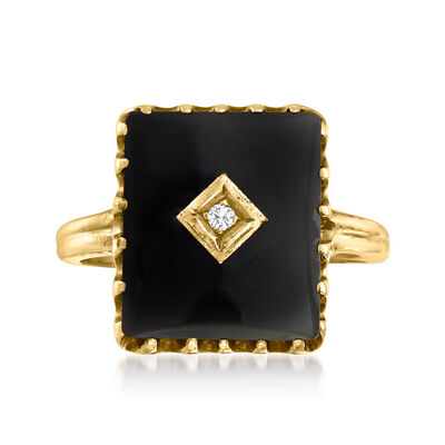C. 1930 Vintage Black Onyx Ring with Diamond Accent in 10kt Yellow Gold