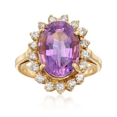 C. 1990 Vintage 6.30 Carat Amethyst and .65 ct. t.w. Diamond Ring in 18kt Yellow Gold