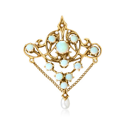 C. 1980 Vintage Cultured Pearl and Opal Pin/Pendant in 14kt Yellow Gold