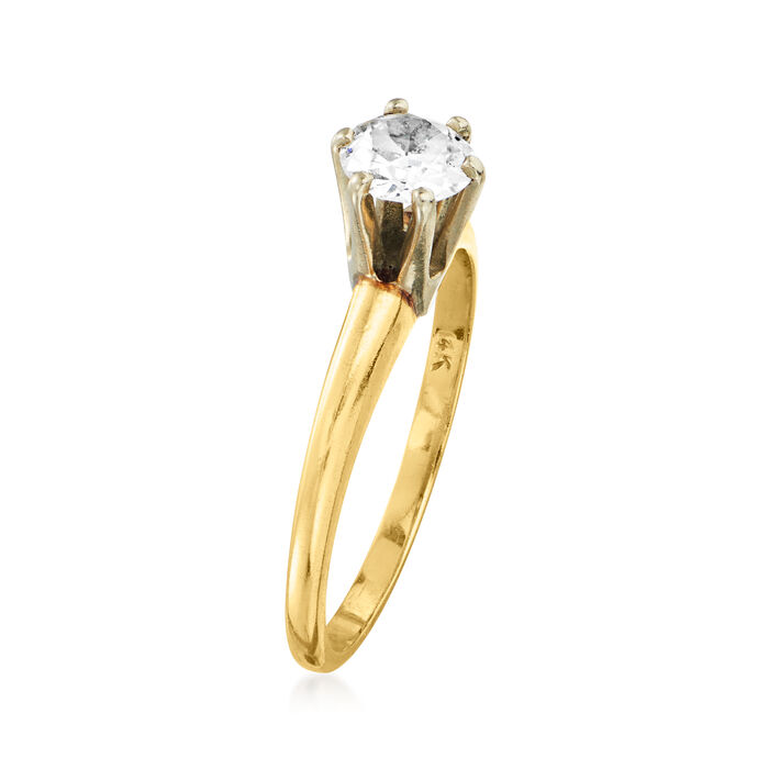 C. 1980 Vintage .50 Carat Diamond Solitaire Ring in 14kt Yellow Gold