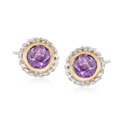 "Phillip Gavriel ""Popcorn"" .72 ct. t.w. Amethyst Stud Earrings in Sterling Silver and 18kt Gold"