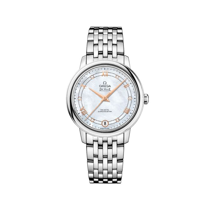 Omega De Ville Prestige 32.7mm Women's Automatic Stainless Steel Watch - Mother-Of-Pearl Dial
